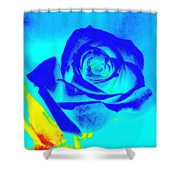 Single Blue Rose Abstract Shower Curtain