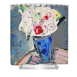 Abstract Blue Vase Of White Bouquet Of Flowers Shower Curtain by Amara Dacer