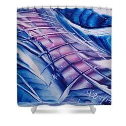 Abstract Blue With Pink Centre Shower Curtain