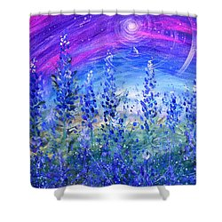 Abstract Bluebonnets Shower Curtain