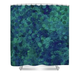 Shower Curtain featuring the mixed media Abstract Blues 1 by Clare Bambers