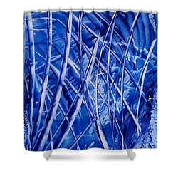 Abstract Blues Encaustic Shower Curtain