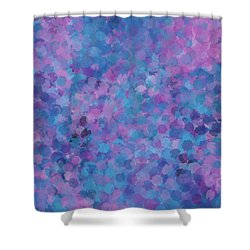 Shower Curtain featuring the mixed media Abstract Blues Pinks Purples 3 by Clare Bambers