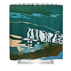 Abstract Boat Reflection Shower Curtain