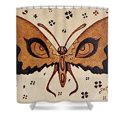 Abstract Butterfly Coffee Painting Shower Curtain by Georgeta  Blanaru