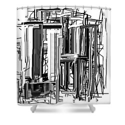 Shower Curtain featuring the digital art Abstract City #2 by Jessica Wright