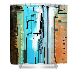 Abstract City Downtown Shower Curtain