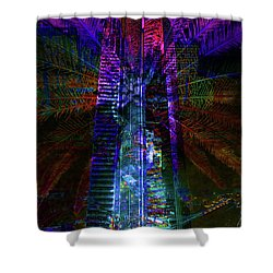 Abstract City In Purple Shower Curtain by Barbara Dudzinska