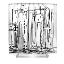 Shower Curtain featuring the digital art Abstract City by Jessica Wright