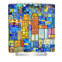 Abstract City Shower Curtain by Setsiri Silapasuwanchai