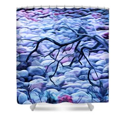 Abstract Claw Driftwood And Cobblestones At Cobblestone Beach, Acadia National Park Shower Curtain