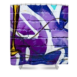 Shower Curtain featuring the painting Abstract Closeup Graffiti Detail  by Yurix Sardinelly