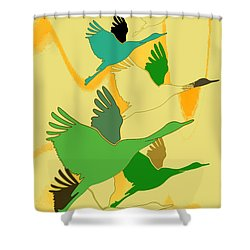 Abstract Cranes Shower Curtain