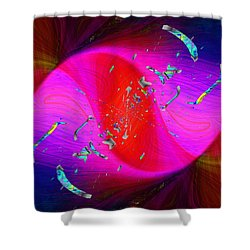 Shower Curtain featuring the digital art Abstract Cubed 354 by Tim Allen