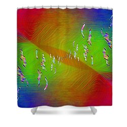 Shower Curtain featuring the digital art Abstract Cubed 355 by Tim Allen