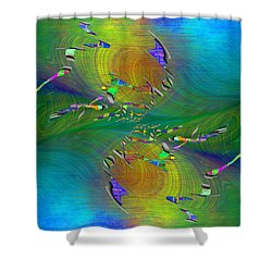 Shower Curtain featuring the digital art Abstract Cubed 359 by Tim Allen