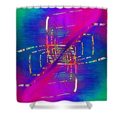 Shower Curtain featuring the digital art Abstract Cubed 363 by Tim Allen
