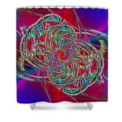 Shower Curtain featuring the digital art Abstract Cubed 367 by Tim Allen