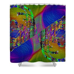 Shower Curtain featuring the digital art Abstract Cubed 368 by Tim Allen