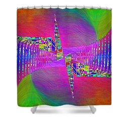 Shower Curtain featuring the digital art Abstract Cubed 373 by Tim Allen