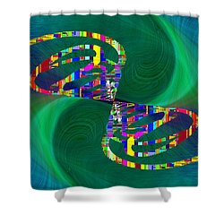 Shower Curtain featuring the digital art Abstract Cubed 374 by Tim Allen