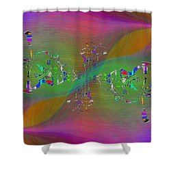 Shower Curtain featuring the digital art Abstract Cubed 376 by Tim Allen