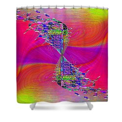 Shower Curtain featuring the digital art Abstract Cubed 377 by Tim Allen