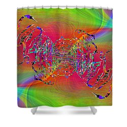 Shower Curtain featuring the digital art Abstract Cubed 382 by Tim Allen