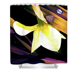 Abstract Daffodil And Droplets Shower Curtain