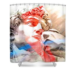 Shower Curtain featuring the painting Abstract David Michelangelo 2 by J- J- Espinoza