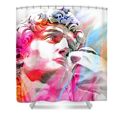 Shower Curtain featuring the painting Abstract David Michelangelo 4 by J- J- Espinoza