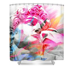 Shower Curtain featuring the painting Abstract David Michelangelo 5 by J- J- Espinoza