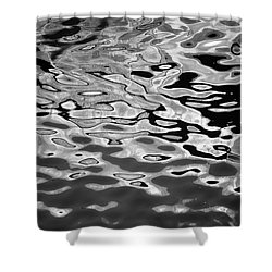 Abstract Dock Reflections I Bw Shower Curtain
