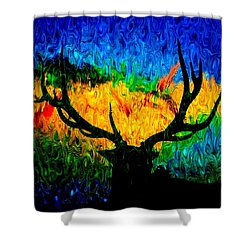 Abstract Elk Scenic View Shower Curtain