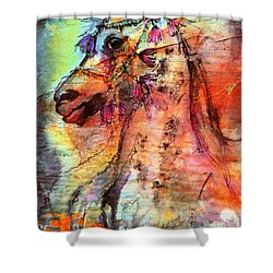 Abstract Expressive Arabian Stallion Art Shower Curtain by Ginette Callaway