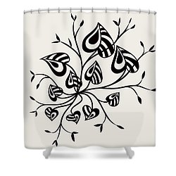 Abstract Floral With Pointy Leaves In Black And White Shower Curtain