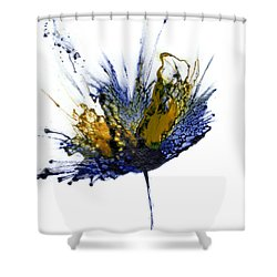 Abstract Flower Navy Blue Yellow 1 Shower Curtain by Catherine Jeltes