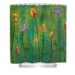 Abstract Flowers Orange, Purple Shower Curtain