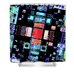 Shower Curtain featuring the digital art Abstract Geometric Art by Phil Perkins