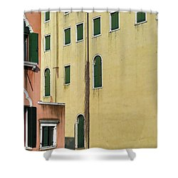 Shower Curtain featuring the photograph Abstract Geometric Venetian Buildings In Yellow And Peach by Brooke T Ryan