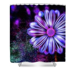 Abstract Glowing Purple And Blue Flower Shower Curtain
