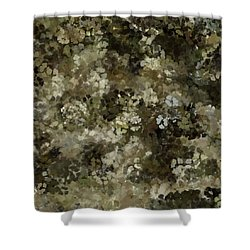 Shower Curtain featuring the mixed media Abstract Gold Black White 5 by Clare Bambers