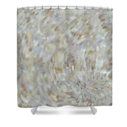 Shower Curtain featuring the mixed media Abstract Gold Cream Beige 6 by Clare Bambers