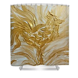 Abstract Golden Rooster Shower Curtain