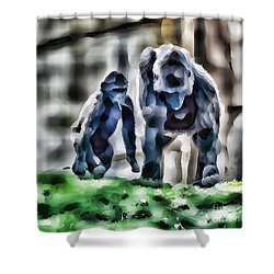 Abstract Gorilla Family Shower Curtain