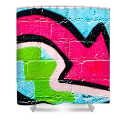 Shower Curtain featuring the painting Abstract Graffiti Arrow Pouinting Down by Yurix Sardinelly
