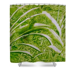 Abstract Green And White Leaves And Grass Shower Curtain