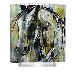 Shower Curtain featuring the painting Abstract Green Horse by Cher Devereaux
