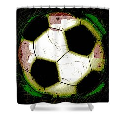 Abstract Grunge Soccer Ball Shower Curtain