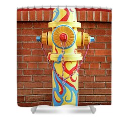 Abstract Hydrant Shower Curtain by James Eddy